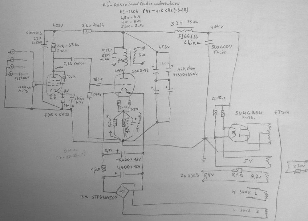 Двухтактный УНЧ 6П3С, EL34